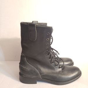 Madewell Leather Workwear Biker Boot in Black